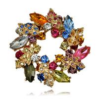 Fancy Multi Crystal Rhinestone Brooch 2015