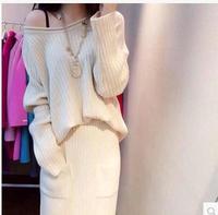 L373B sweater dresses for women 2014 winter cream knit woman sweater dress set maxi long white dress suit