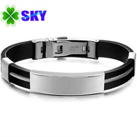 SKY Jewelry! Personality Design Men Silicon Bangles 316L Stainless Steel Buckle and Golden Simple Smooth Bracelets TOP ART SK973