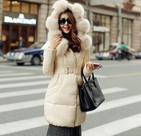 2014 fashion Korean Women Slim fur collar long coat thicker Down jackets winter warm winter coat women jacket