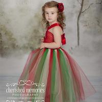 Hot Sale Santa 2014 New Girls Christmas TUTU Evening Dress Bow Halter Sleeveless top Children Fashion Cute Girl Party Dress