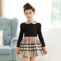 New style 5pcs Children girl's 2014 Long sleeve Patchwork black+Khaki England style girl dress qz546
