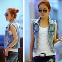 2014 Fashion Personalized Denim Waistcoat Coat Women's Wear Retro Washed Sleeveless Cardigan Jeans Vest Jacket VS1008