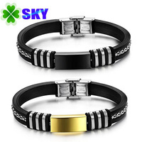 SKY Jewelry! Fancy style Men Silicon Bangles Rich Lines 316L Stainless Steel Buckle and Smooth Plated Connector Bracelets SK800