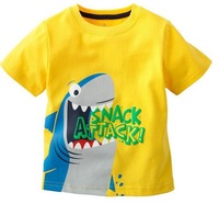 "5Pcs/Lot Children Girls Cartoon shark short sleeve O Neck Cotton tshirts kids ""Snack Attack"" Tops Tees Yellow QiEn"