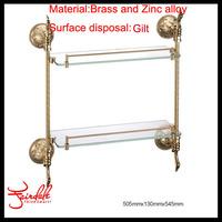 Free Shipping-Fasion Design Brass And Zinc Alloy & Glass Gilt Finishing Double Glass Shelf Bathroom Shelves-Bathroom Accessories