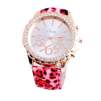 Geneva Fashion Casual Watch Leopard gold color with drilling Women Wristwatches Analog Ladies Quartz watch