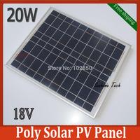 20W 18V Polycrystalline silicon Solar PV Panel for 12V solar power system,20W 12VDC PV Poly solar Module free shipping