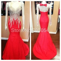 Sexy Mermaid Red Formal Dresses Plus Size Dresses with beads Evening Dresses Prom Dresses  2015