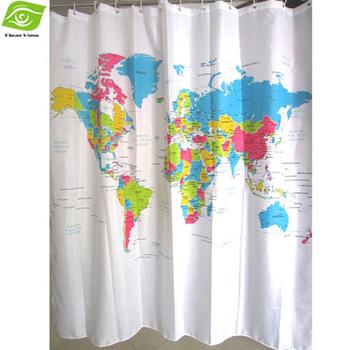 2014 Creative World Map Shower Curtain 180*180cm Bathroom Curtain Waterproof Polyester ...