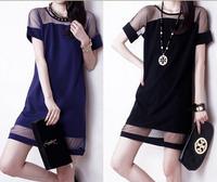 New 2014 Women Club Dress Short Sleeve Party Dresses Casual O-Neck Blue / Black Dress Three Sizes