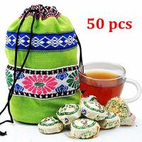 On Sale!!! 50 Pcs Pu er Pu'erh tea Mini Yunnan Puer tea Chinese tea With Gift Bag buy direct from china alpine stars puer tea
