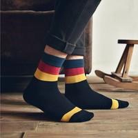 3pair Fashion British style the streets of cotton stitching color retro classic men's socks business socks Harajuku socks