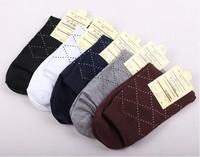 (5pairs/lot)Wholesale business casual leisure rhombus shape men socks