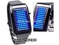 Fashion Cool army stel man led watch Lava Full Steel Sport Bracelet Watch LED Blue Light Men WOMEN Binary Led Digital Watches