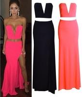 Sexy Women Plunge Dee V Neck Crop Bralet Bustier Top+Slit High Waist Maxi Long Skirts crop top and skirt set