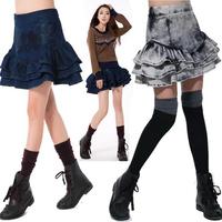 Autumn Winter Fashion Casual Ladies Embroidery Grey  Ruffle Mini Denim Skirt , Euroepan Style Female High Waist Designer Skirts