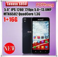 smartphone lenovo S850 1G RAM 16G ROM 5.0 inch MTK6582 Quad Core cell phones 13.0MP camera