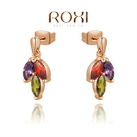 2014 ROXI women selling jewelry genuine Austrian crystal earrings gold-plated three -color petals freeshipping