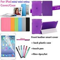 Magentic smart cover case for ipad 7.9'' mini retina wake/sleep leather smart cover + back hard Crystal case+pen+film