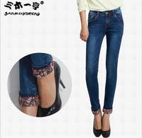 2014 New Women Flowers Leopard Jeans Designer Brand Autumn Winter Fashion Casual Slim Fit Denim Pencil Stretchy Skinny Pants
