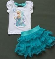 Children Girls Frozen Princess Elsa Dress + T shirt 2 Pcs Suits 2-7Age Sky Blue Layered Tutu Dress Sets Frozen Clothing 5set/lot