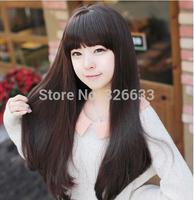 2014 long Wig fluffy flat bangs medium-long kinkiness jumbo cute fashion wigs women girls embelish face hair