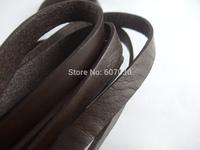 2 Meters Dark Brown 10mm Flat Real Leather Cord