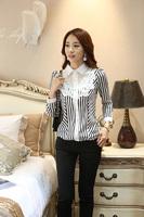 New Arrivals 2014 New European autumn Women Fashion lacing collar tops Casual Shirt Loose  Stripes Chiffon Blouse plus size
