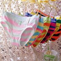 Free shiipping Underwear lady's Sexy Stripe Underwear women's Briefs  Fashion cotton panties Calcinha Fio Dental