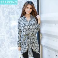 Hot selling!2014 new fashion autumn european long sleeve women long blouse turn down collar print lady's shirt casual shirt N491