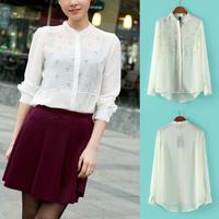 Fashion Women Crew Neck Blouse Little Snowflake Print Pattern Long Sleeve Chiffon Shirt White Drop Shipping 8403