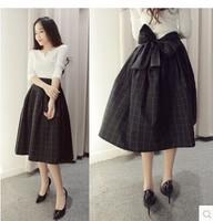 L375B woman dress set 2014 new fall and winter woman's dress twinset with big bowknow plaid black dress suit