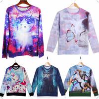 9 Styles Cat Theme Fall Winter 3D Hoodies Unisex  Pullover Sweatshirts Long Sleeve 3D T Shirts