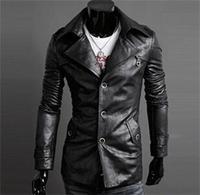 New Arrival Trendy PU Leather Big Lapel Jackets for men Hot sale Classic winter Slim Fit Solid Men's Jacket Coats