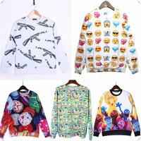 Gun Emoji small face Theme Fall Winter 3D Hoodies Unisex Sweaters Pullover Sweatshirts Long Sleeve 3D T Shirts high quality