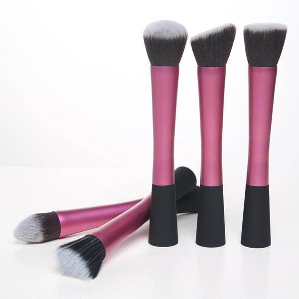 Pink Hot Pro Makeup Stipple Fiber Top Foundation Cosmetic Power Blush Brush Tool Set(China (Mainland))