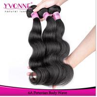 Grade 6A Peruvian Virgin Hair Body Wave,3Pcs/lot Unprocessed Human Hair Weave,Aliexpress Yvonne Hair,Natural Color 1B