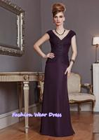 Fashion Dress Custom Made 2015 Good Applique A-Line V-Neck Chiffon Grape Floor Length Draped Long Formal Mother Of Bride Dresses