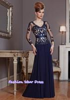 Fashion Dress Custom Made 2015 High Quality Applique A-Line Chiffon Blue Floor Length Draped Long Formal Mother Of Bride Dresses
