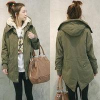 New 2014 Women Long Sleeve Thicken Fleece Hooded Parka Zipper Overcoat Winter Warm Coat Jacket Plus Size Green Black Outwear