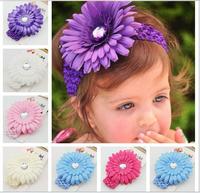 Free Shipping 2014 New Style Girl's Hairbands Crochet headband Gerbera Daisy flower clip,children headbands kid's accessories