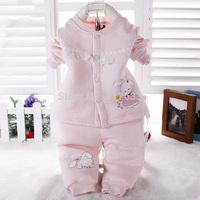 Retail Boy/Girl Baby Suit Set 2014 Children's Cartoon Bamboo Fiber Underwear Kids Coats/Tops+Pants 2pcs 0-2T