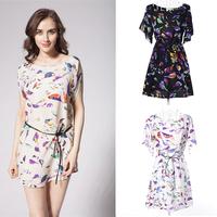 2014 New High quality summer dresses Fashion Women O-Neck Bird Print Chiffon dress Short Sleeve Animal Printed Loose Dresses