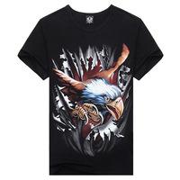 2014 new men's round neck T -shirt 3D fashion round neck T -shirt wholesale wholesale animal prints male creative person