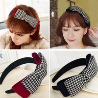 Wholesale 12pcs Large Plaid Worsted Bow Headband Elegent Ladies Doudles Layes Bow Hairband Fashion Hair Accesosries