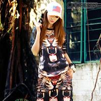 2014 spring steel teeth tiger long-sleeved T shirt,Free Shipping