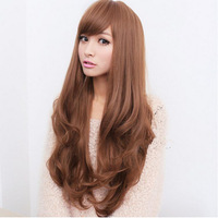 3 Colors blonde wig New Women Korea big wave Long curly hair wigs hair with side bangs