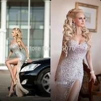 2014 Full Crystaled Strapless Chiffon Evening Dress Vestidos Prom Women Dress with Slit