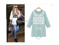 2014 Autumn New Fashion T Shirt  Women Letter Print O Neck Three Quater Cotton Casual Shirt Wholesale Free Shipping